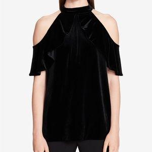 NWT! Calvin Klein Velvet Cold-Shoulder Top Black